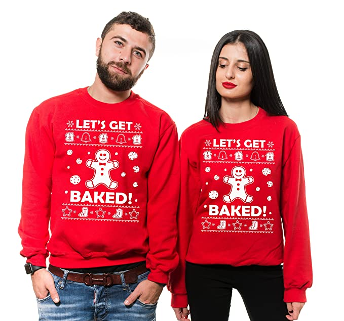 Christmas Ugly Sweater.Silk Road Tees Funny Christmas Ugly Sweater Matching Couple