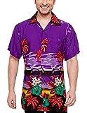 CLUB CUBANA Men's Regular Fit Classic Short Sleeve Casual Floral Hawaiian Shirt