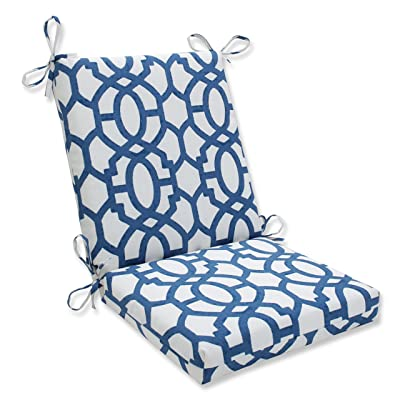 "Pillow Perfect Outdoor/Indoor Nunu Geo Square Corner Chair Cushion, 36.5"" x 18"", Ink Blue: Home & Kitchen"