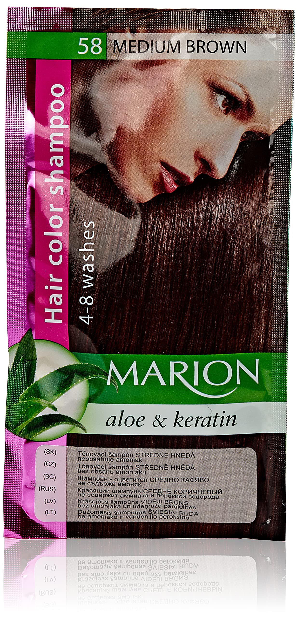 Marion Hair Color Shampoo in Sachet Lasting 4-8 Washes - 58 – Medium Brown