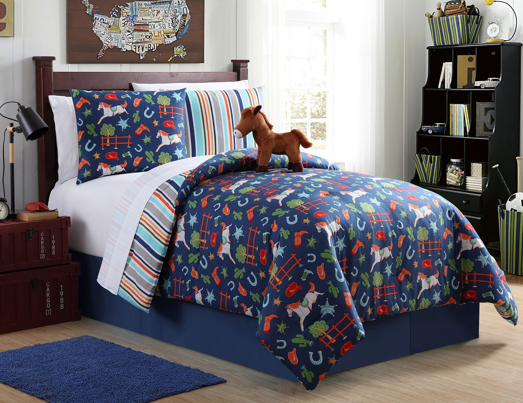 Twin Horse Bedding Comforter 7 Piece Bed in a Bag Set Cowboy Western with Sheets