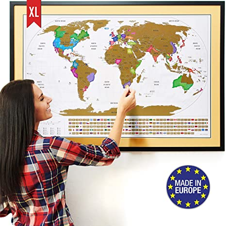 I Need A Map Of The World.Xl Scratch Off Map Of The World With Flags The Only Premium Quality Large 35x23 Scratch Off World Map Poster With Us States Country Flags