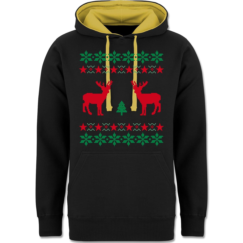 Weihnachten & Silvester - Norweger Pixel Rentier Weihnachten - zweifarbiger Kapuzenpullover / Hoodie für Damen und Herren