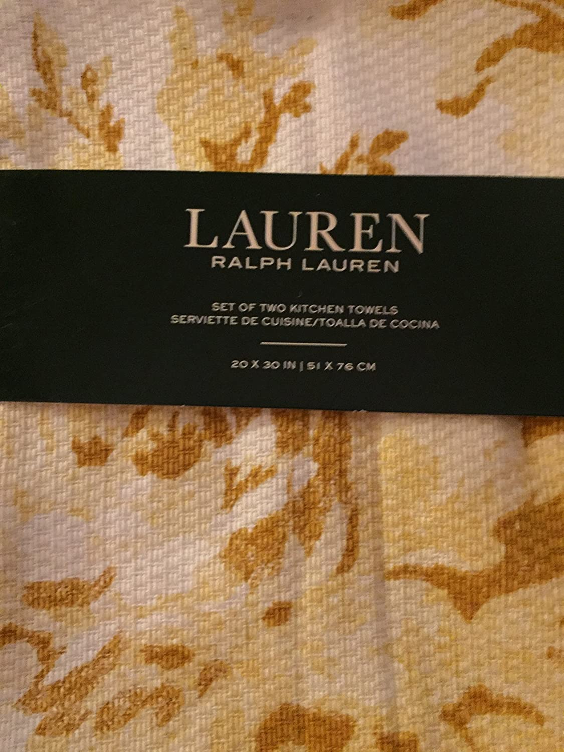 Amazon.com: Ralph Lauren Set of Two Kitchen Towels White and Yellow: Home & Kitchen