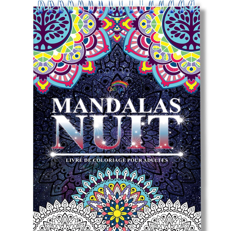 Coloriage Adulte Mandala de Nuit Anti-Stress: Le Premier Cahier de Coloriage Mandala avec Papier Noir Artiste et Reliure Spirale par Colorya por Colorya