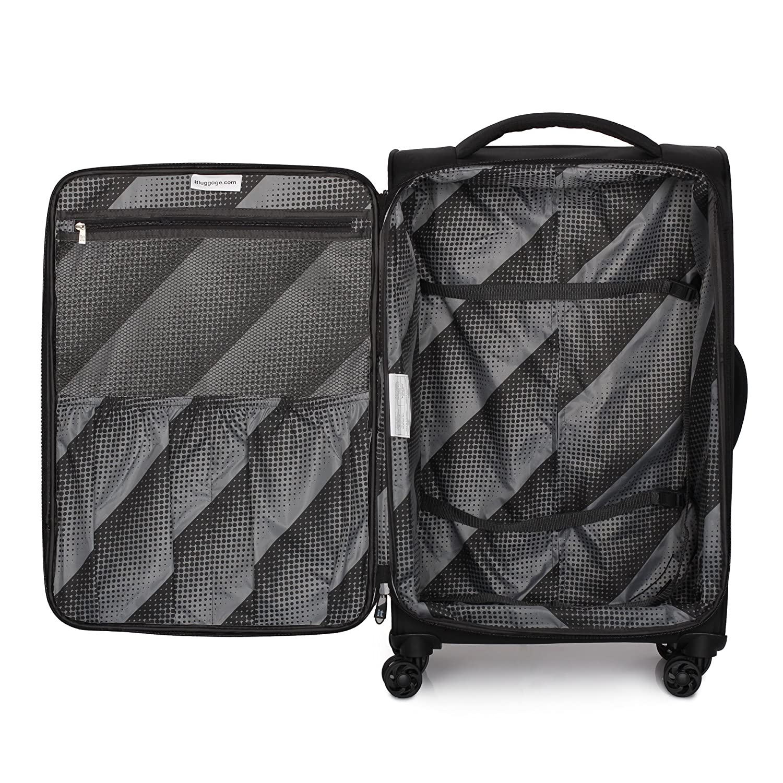 Black IT Luggage Parent Code 12-185708-UEB3N-S001 it luggage Megalite-Vitality-8 Wheel Semi Expander Lightweight 3 Piece Set