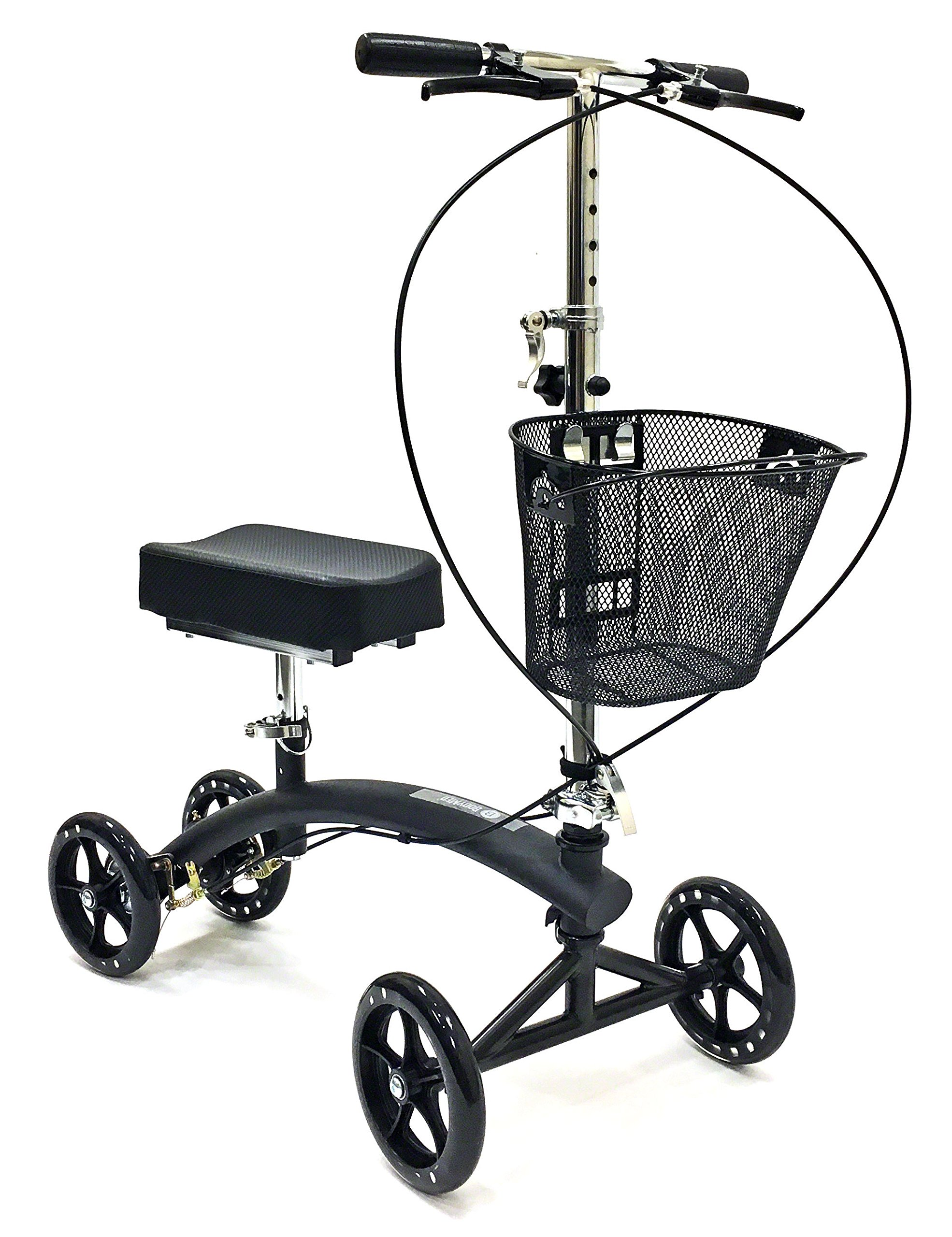 BodyMed Folding Knee Walker With Dual Braking System and Basket - - Great Alternative To Crutches - Broken Leg Scooter - Steerable Mobility Device For Foot Or Ankle Injury
