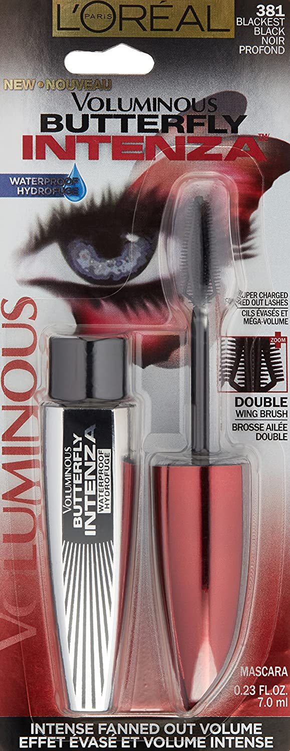 88cfc292b5e Amazon.com : L'Oréal Paris Voluminous Butterfly Intenza Washable Mascara,  Black, 0.25 fl. oz. : Beauty