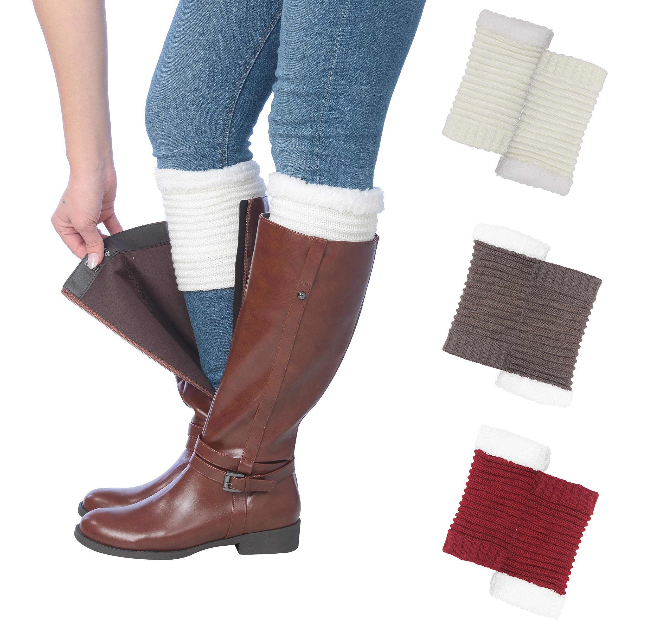 Tipi Toe Women's 3 Pairs Knitted Leg Warmer Boot Cuffs With Fleece Fuzzy Lining, One Size, BT1703