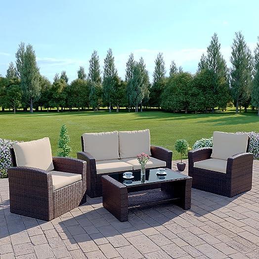 brown rattan wicker weave garden furniture sofa set