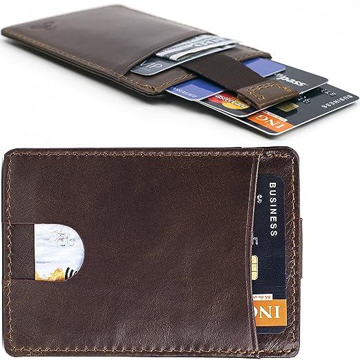 watch ce028 f1442 Card Holder Slim Leather Wallet - Lightweight Minimalist Design RFID  Blocking