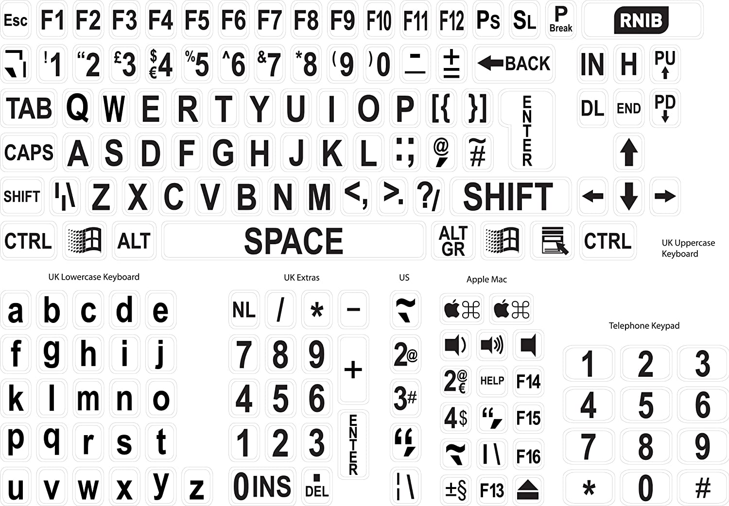 Large Print Keyboard Stickers Black On White Amazon