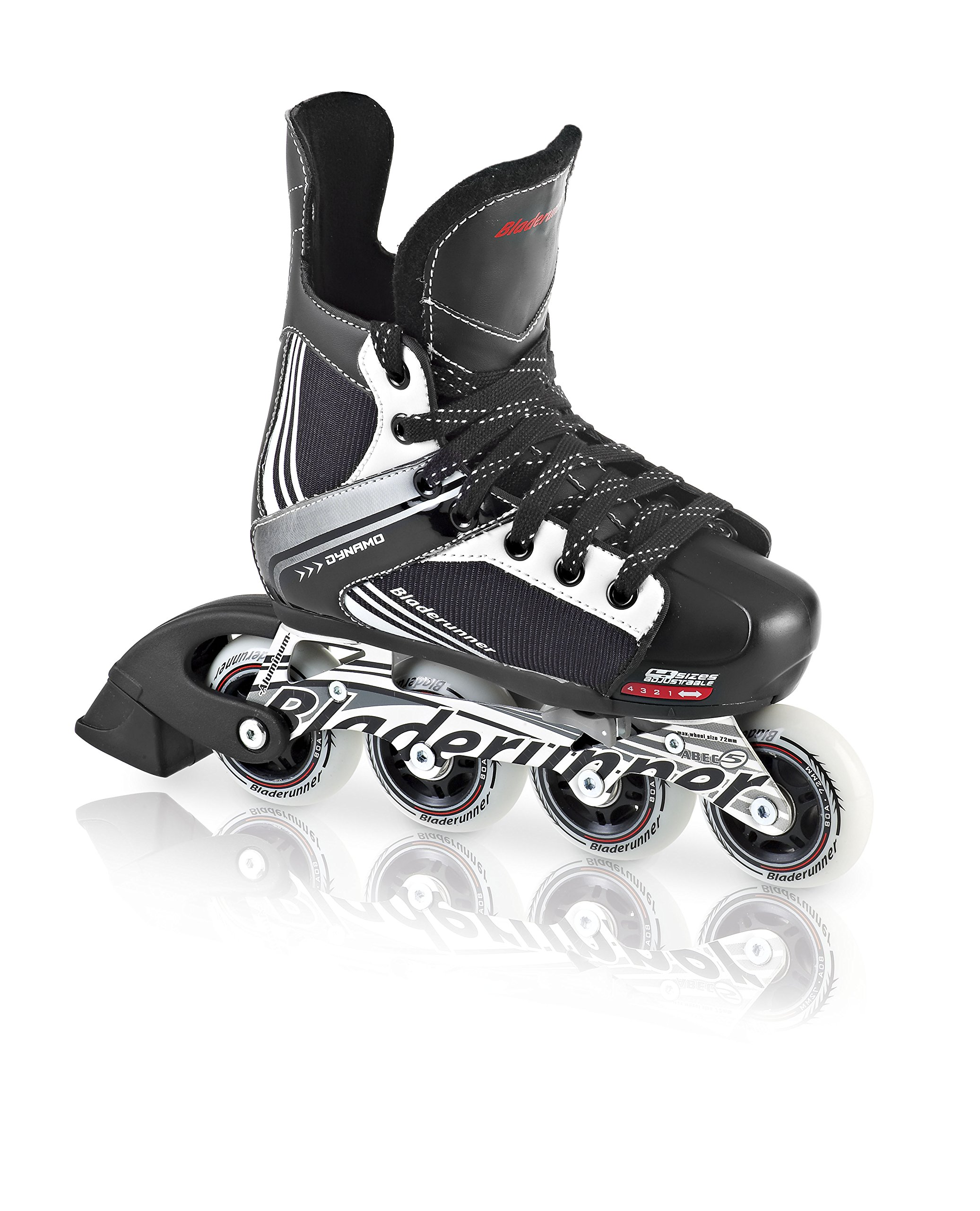 Bladerunner Kids Dynamo Adjustable Hockey Skate with 64mm Wheels, Black/White, Size 11J - 1 by Bladerunner