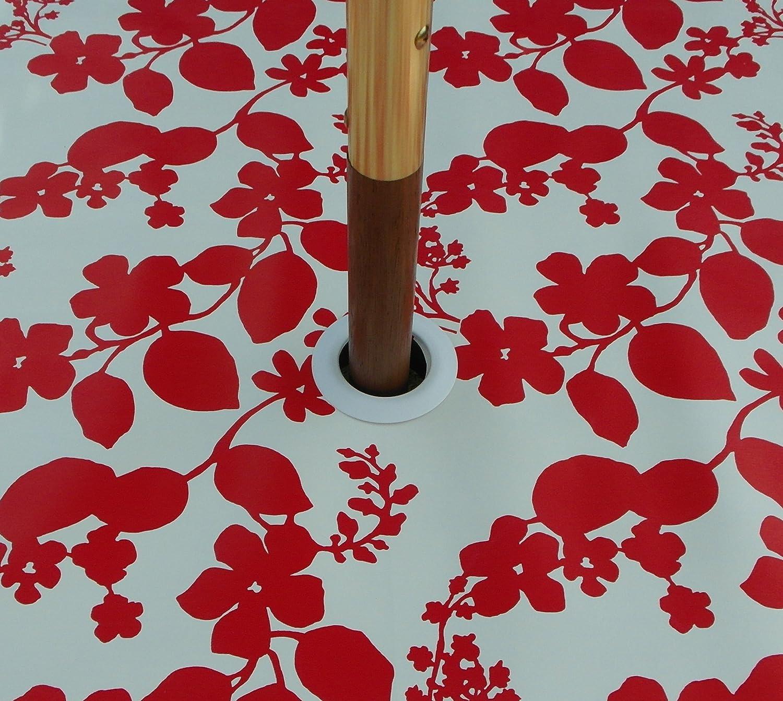 Ovale in PVC//Vinile tovaglia/ /Fiore Rosso e Bianco con Foro per ombrellone 139,7/x 198,1/cm 1.4/x 2.0/m