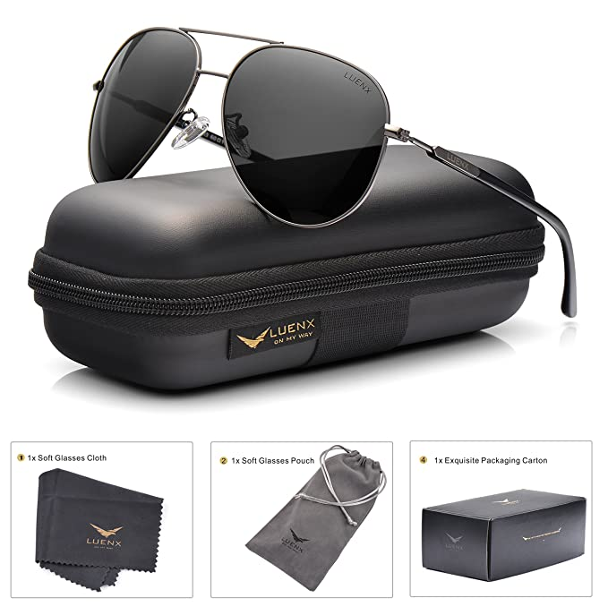 548d187860 LUENX Aviator Sunglasses Polarized Mens Womens with Case - UV 400 Protection  60mm  Amazon.ca  Clothing   Accessories