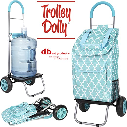 Moroccan Tile Shopping Grocery Foldable Cart dbest products Trolley Dolly