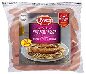 Tyson Boneless Skinless Chicken Breast Tenderloins, 2 Pounds (Frozen)