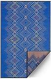 FAB HAB Reversible, Indoor/Outdoor Weather Resistant Floor Mat/Rug | Jodhpur - Blue | 120 cm x 180 cm