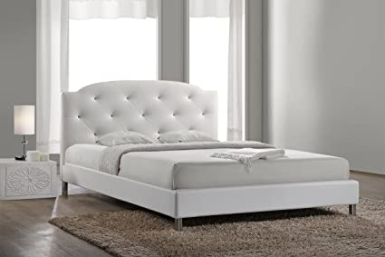 7f70f8e57980 Amazon.com  Baxton Studio Canterbury Leather Contemporary Bed