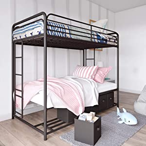 DHP Bonnie Twin/Twin Bunk Bed with Storage Bins, Black