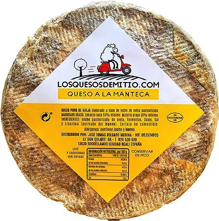 Queso de oveja a la manteca gourmet, con caja de madera premium (español, original, ideal con vino, queso entero de 2kg de leche pasteurizada, para regalo), de Losquesosdemitio