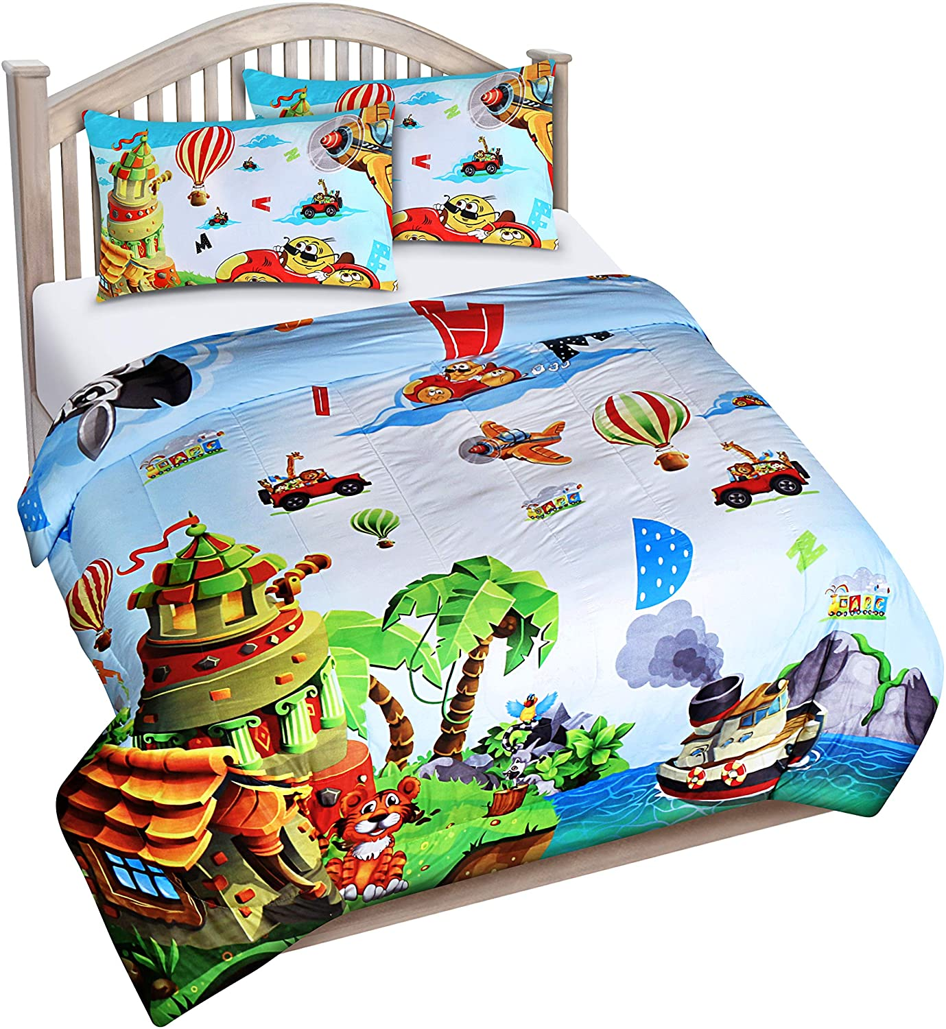 Utopia Bedding All Season Super Soft Jungle Theme Animals Kids Comforter Set - 3 Piece Toddler Bedding Sets for Boys - Full/Queen