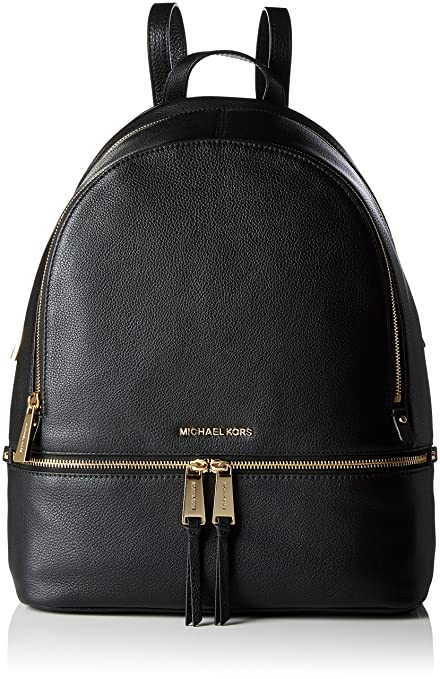 Michael Kors - Rhea Large Leather Backpack, Mochilas Mujer, Negro (Black),