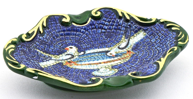 Art Escudellers CENICERO 2 Palomas Ceramica Pintado a Mano con Oro de 24K, Decorado al Estilo BIZANTINO Verde. 13cm x 10cm x 2,5cm: Amazon.es: Hogar