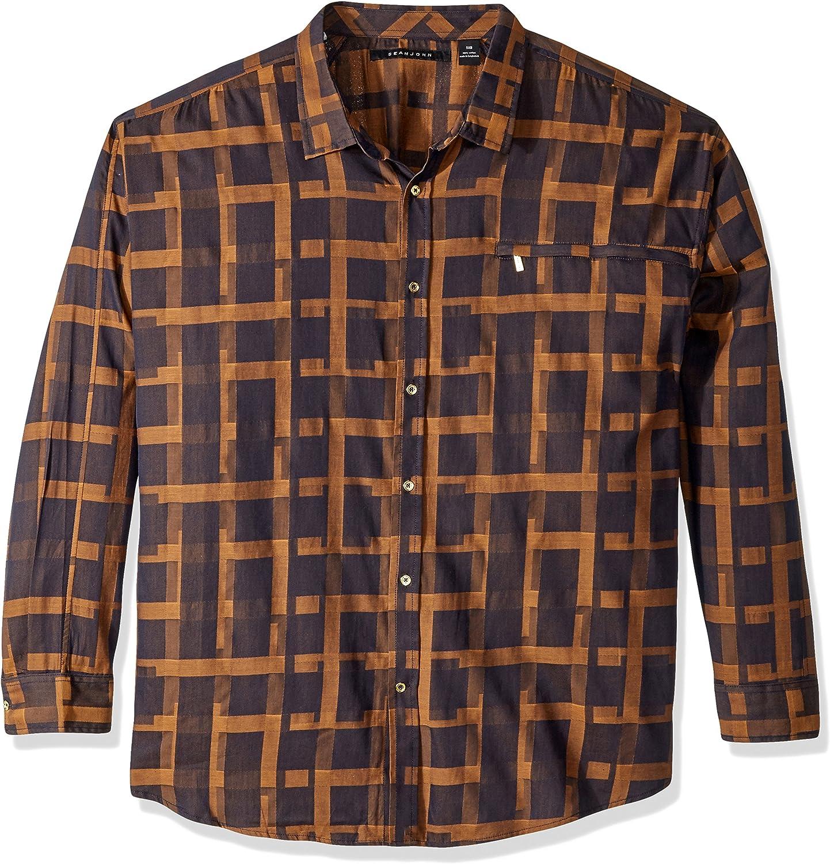 Sean John Shirt Mens Size 4XB Nightsky Blue Button Front Casual Shirt New