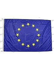 Bandiera Europa 100x70 cm in tessuto nautico antivento da 115g/m², bandiera europea 100x70 lavabile, bandiera d'Europa 70x100cm con cordino, doppia cucitura perimetrale e fettuccia di rinforzo