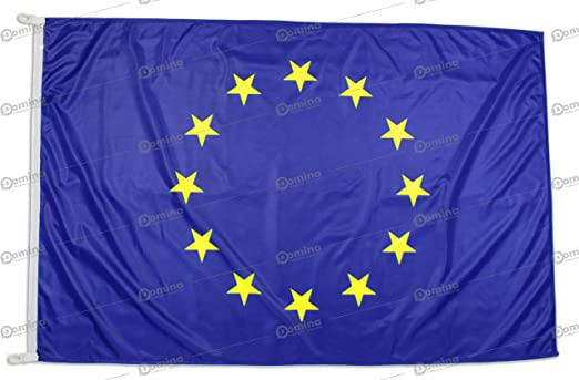 Bandera Europa 100x70 cm en tela náutico resistente al viento 115g/m², bandera unión europea 100x70 lavable, bandera UE 100x70 cm alta calidad con cordón, doble costura perimetral y cinta de refuerzo: Amazon.es:
