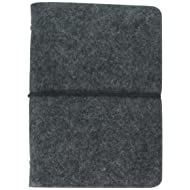 "Wool Felt Cover Journal / Travel Diary / Trip Planner / Notebook (Dark Grey) | 7"" x 4.5"""