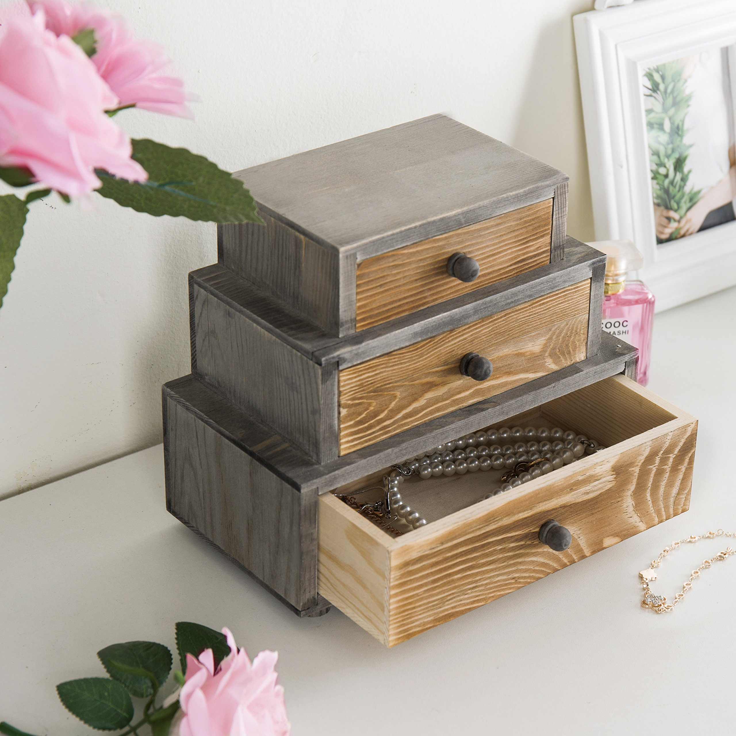 MyGift 3-Drawer Rustic Wood Office Storage Organizer by MyGift (Image #4)