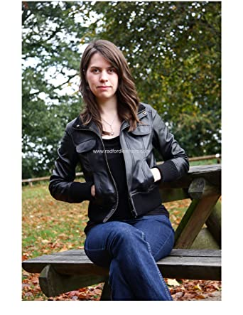 fa7c362570c9 Ladies Quality Leather Bomber Jacket: Amazon.co.uk: Clothing