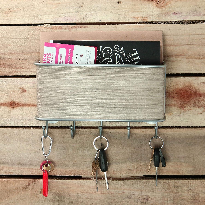 HOTEU 18 * 9.5 * 3.5 cm Blanco Organizador de Correo Moderno y portallaves de Madera Natural para Montar en la Pared con una Ranura y 5 Ganchos para Llaves