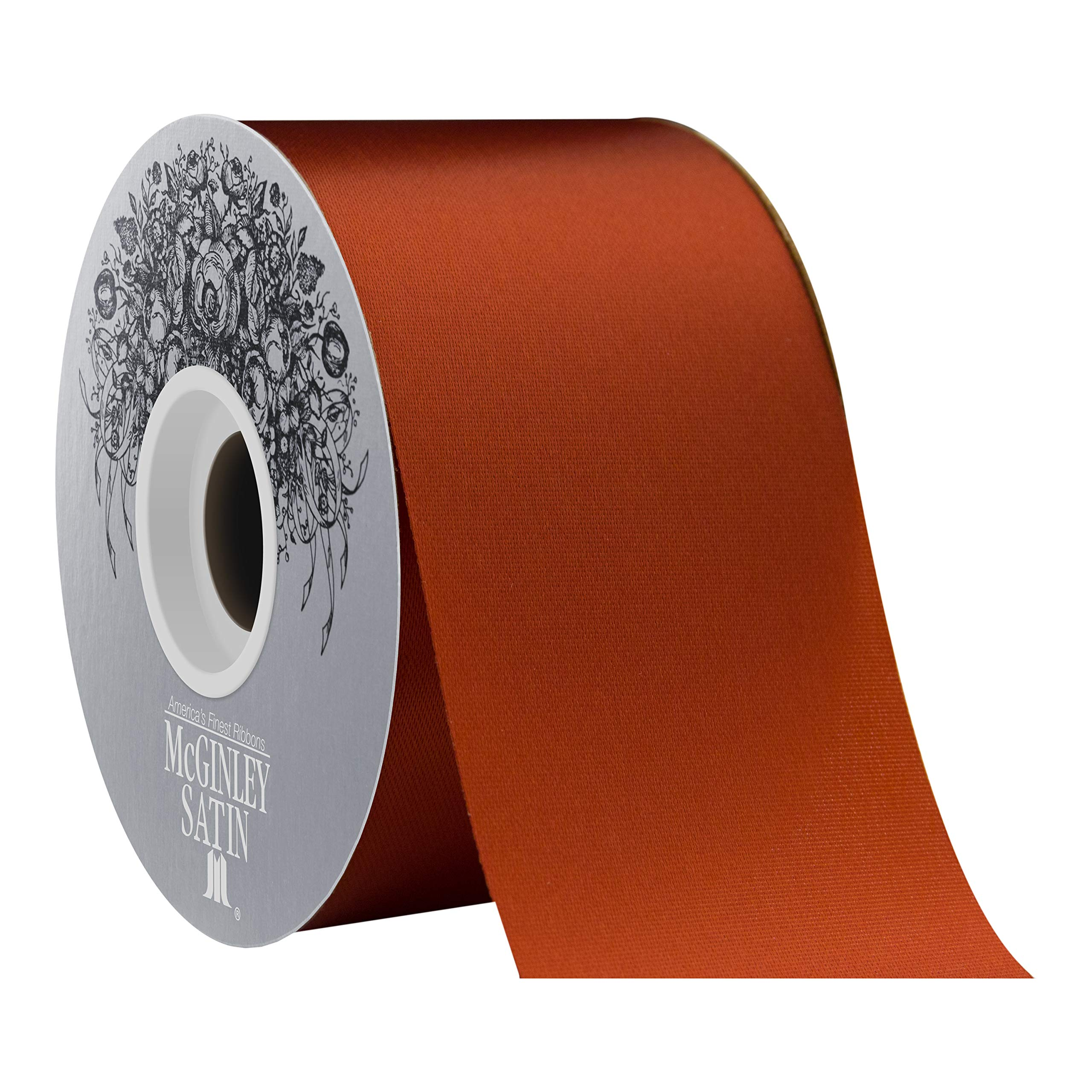 McGinley Mills 2.5'' W Acetate Satin Ribbon, Rust Orange, 50 Yard Spool