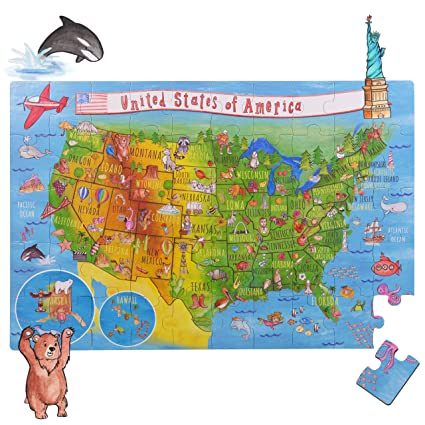 Amonev United States Usa Map Big Floor Puzzle With Thick Jigsaw Puzzle Pieces Which Can Also Be Used On A Table Are Great Floor Puzzles For Kids