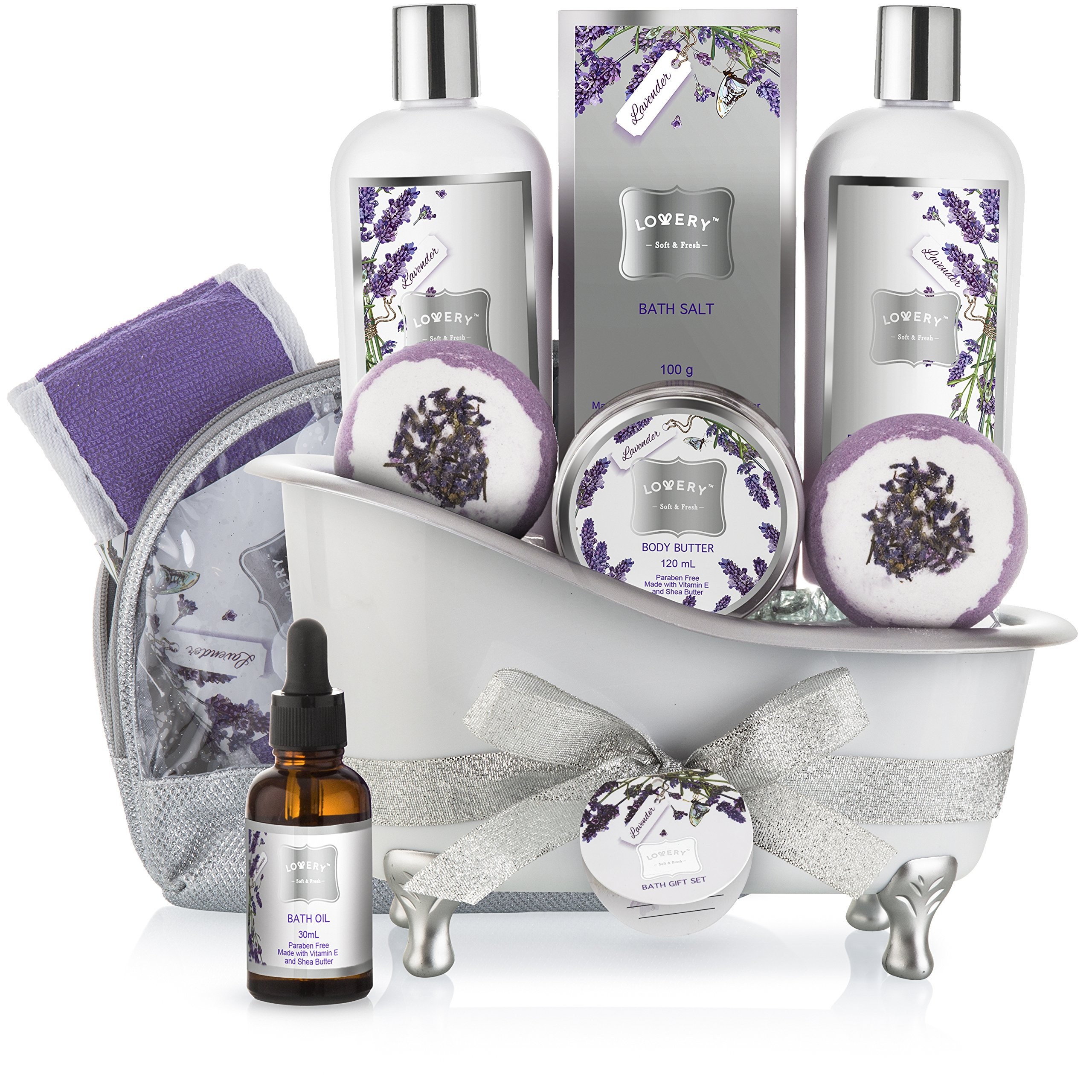 Bath Gift Basket Set for Women: Relaxing at Home Spa Kit Scented with Lavender and Jasmine - Includes Large Bath Bombs, Salts, Shower Gel, Body Butter Lotion, Bath Oil, Bubble Bath, Loofah and More by LOVERY
