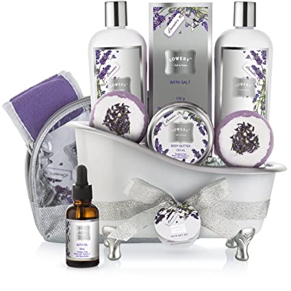 img buy Bath Gift Basket Set for Women: Relaxing at Home Spa Kit Scented with Lavender and Jasmine - Includes Large Bath Bombs, Salts, Shower Gel, Body Butter Lotion, Bath Oil, Bubble Bath, Loofah and More