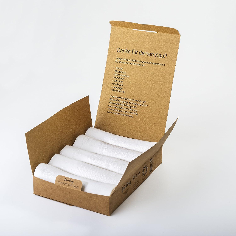 5er Pack 120g//qm Mullwindeln verst/ärkte Umrandung wei/ß doppelt gewebt Baumwolltuch und Mullt/ücher f/ür Junge /& M/ädchen Moltontuch 80x80cm GOTS BIO-QUALIT/ÄT f/ürs Baby Spuckt/ücher