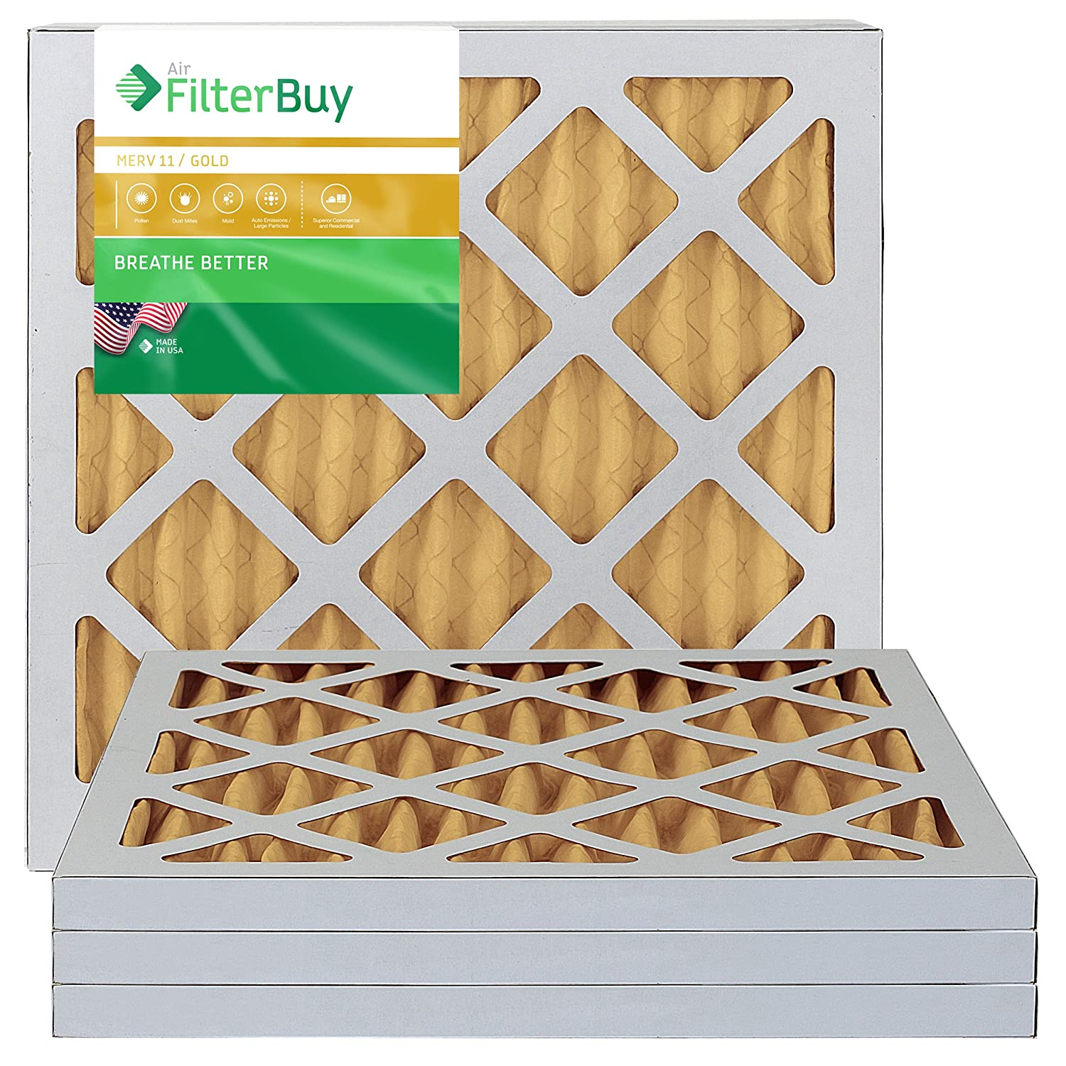 FilterBuy 10x10x1 MERV 11 Pleated AC Furnace Air Filter, (Pack of 4 Filters), 10x10x1 – Gold