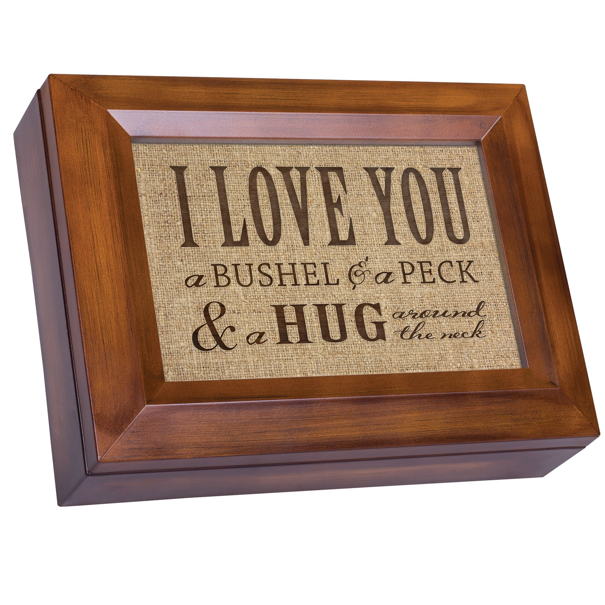 I Love You A Bushel & A Peck Wood Finish Jewelry Music Box - Plays Tune You Are My Sunshine by Cottage Garden