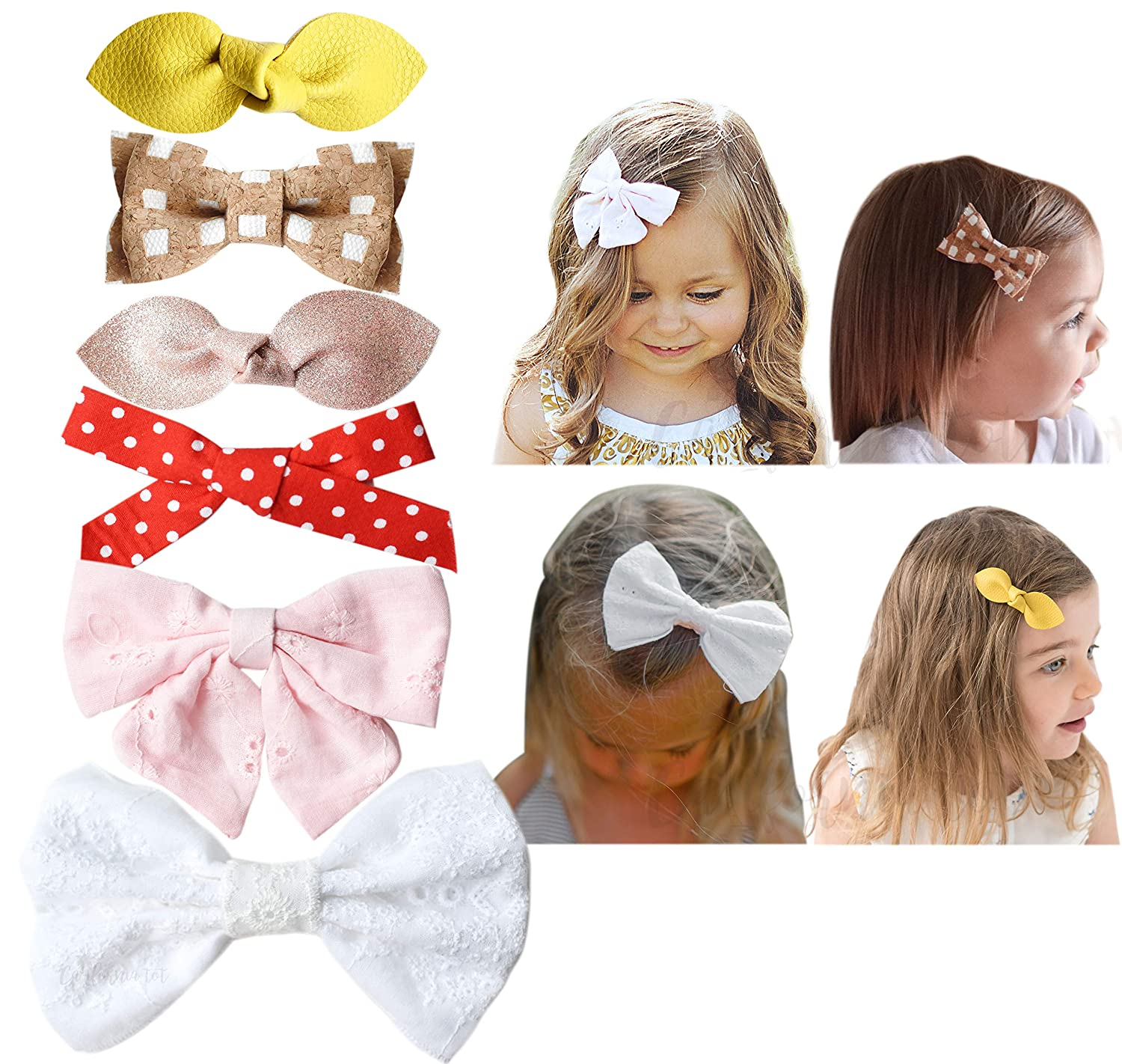 California Tot Premium Faux Leather Bow Hair Clips for Toddler, Girls, Mixed Set of 4 Mixed Set of 4 (Boho Clip)