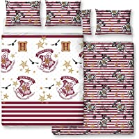 Harry Potter Duvet Covre with Matching Pillow Case - Two Sided Hogwarts Muggle Bedding Design, Microfibre, White, Double