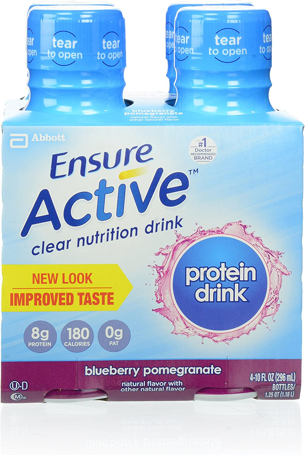 Ensure Active Clear Nutrition Beverages, Blueberry Pomegranate, 4 Count.