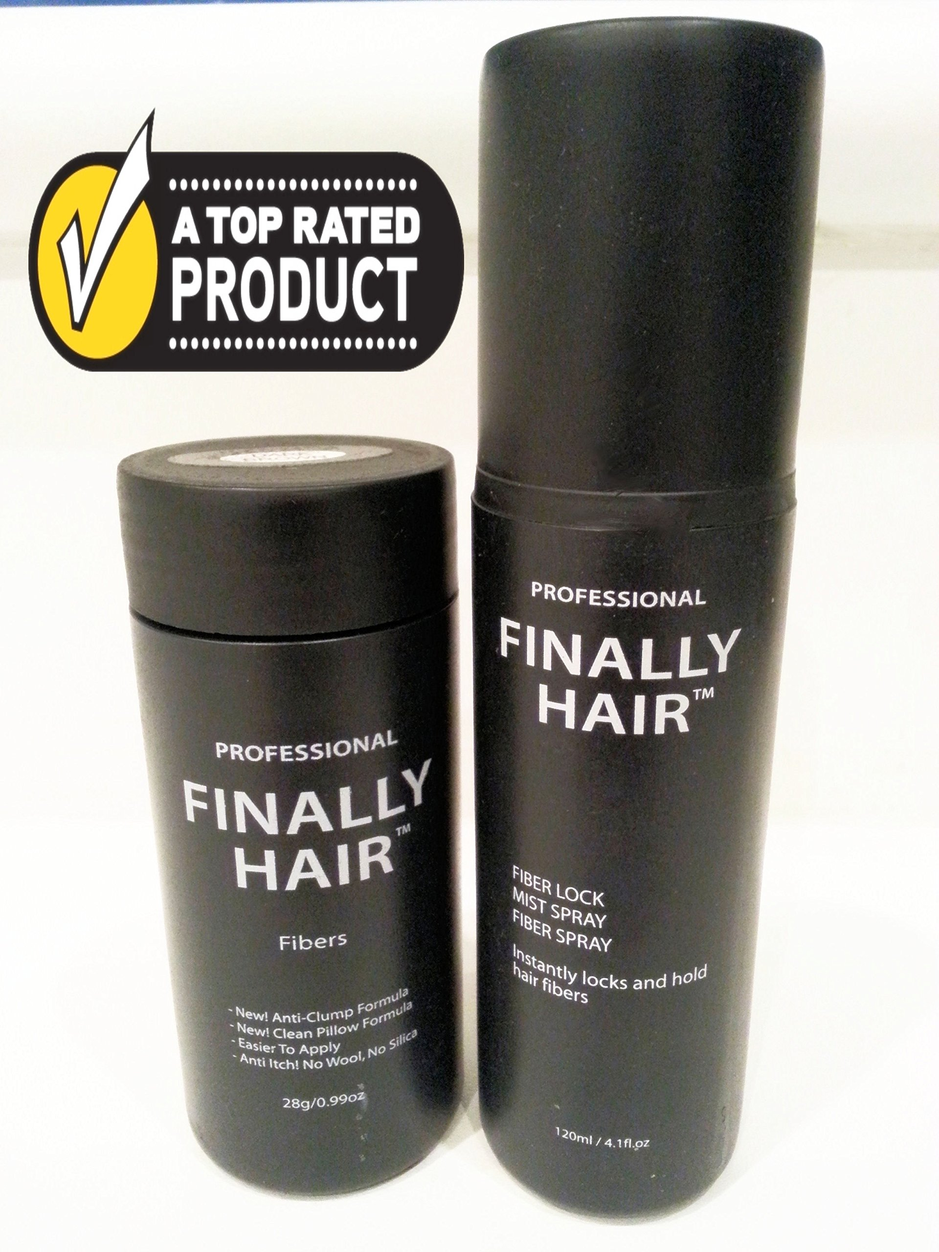 Hair Building Fibers Black 28g Bottle of Finally Hair Building Fibers and Finally Hair 120ml 4.1 oz. Bottle of Fiber Lock Hair Spray. Hair Loss Concealer Fibers (Black)