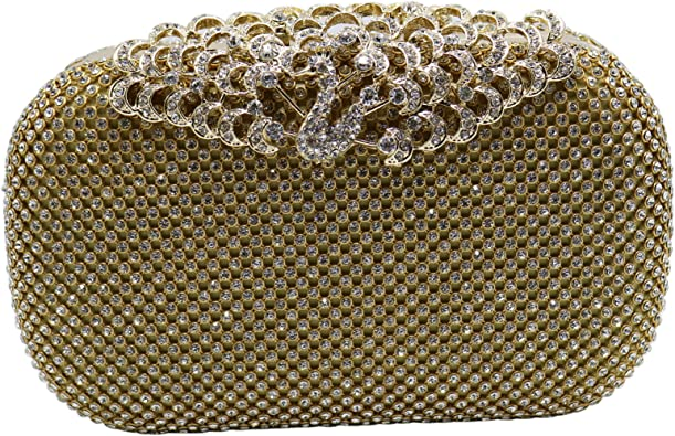 Peacock Metal Rhinestons Evening Bags Crystal Lady Small Clutch Shoulder Chain Messenger Bags Wedding Party Purse Long Chain Shoulder Handbags