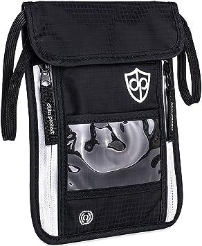 Portadocumentos de Cuello con protección RFID para damas caballeros | Ligero plano confortable bolsillo interior | Cartera de viaje para colgarse objetos de ...