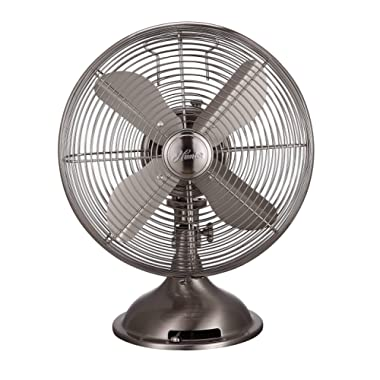 Hunter Home Comfort Hunter Retro Table Fan, 12 , Brushed Nickel