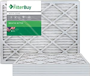 FilterBuy 24x30x1 MERV 8 Pleated AC Furnace Air Filter, (Pack of 6 Filters), 24x30x1 – Silver